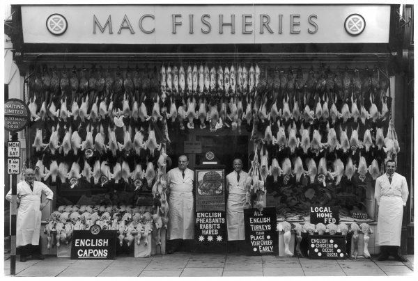 Mac Fisheries in Cheltenham, taking orders for Christmas for local home fed chickens, ducks, geese, turkeys, capons and English pheasants, rabbits, hares and oysters