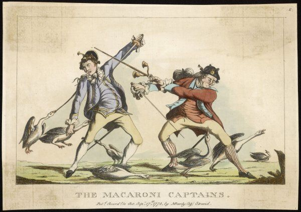 'THE MACARONI CAPTAINS' - satire on the young men of fashion whose extravagant dress attracts the attentions of a flock of geese