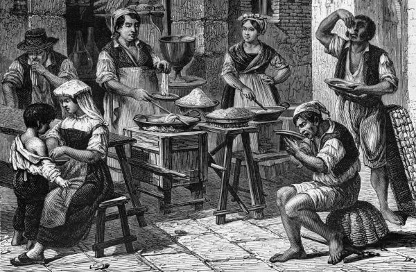 Selling macaroni in the streets of Naples - note that it seems to be eaten with the fingers ! Date: circa 1880