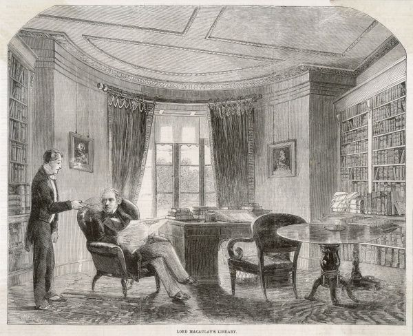 Thomas Babington Macaulay historian, depicted in his library, looking up from the Times to receive a book proffered by his manservant
