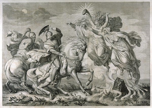 Act I, Scene iii Macbeth & Banquo, on horseback, encounter the three witches