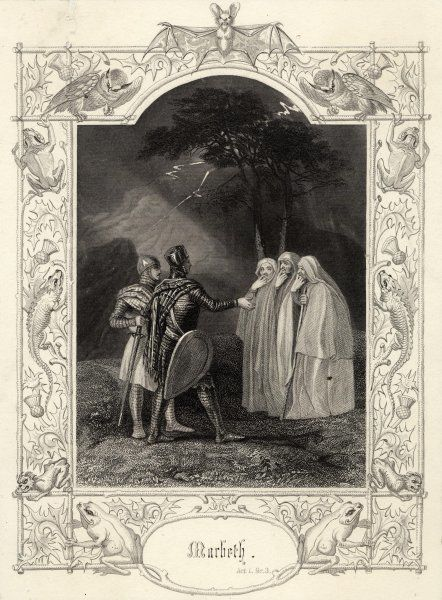 "Act I, Scene III Macbeth & Banquo encounter the three witches. M:""Speak, if you can: what are you?&quot"
