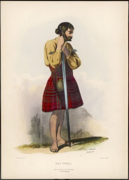 Clan MAC DUGAL (Mac Dougal, or Mac Dougall) barefoot and without armour, but with a long sword just