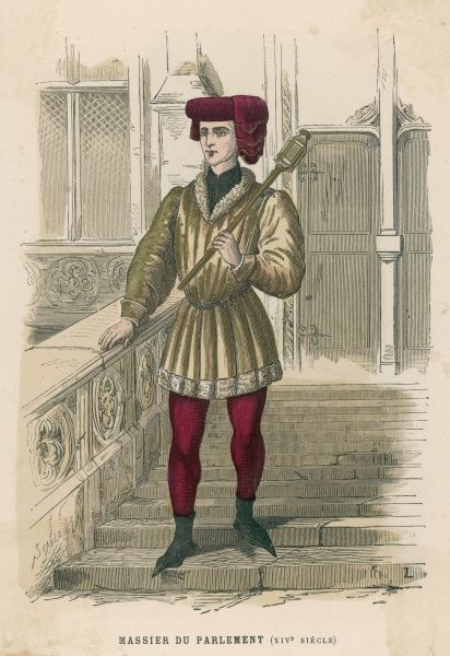 A mace-bearer of the Paris Parlement - the costume of an official functionary, wearing fashionably pointed shoes