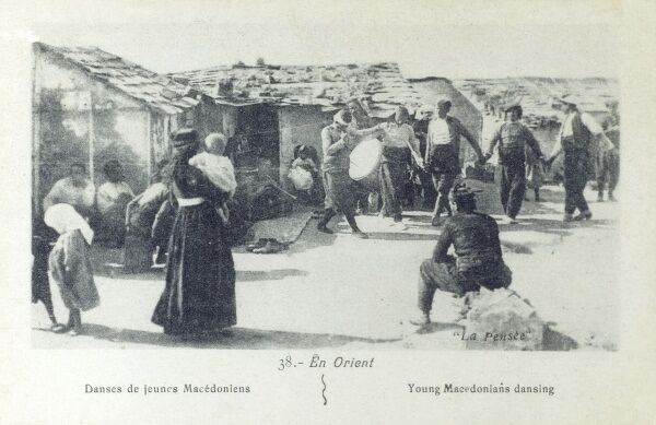 Young villagers in Macedonian taking part in a traditional rural dance Date: circa 1913