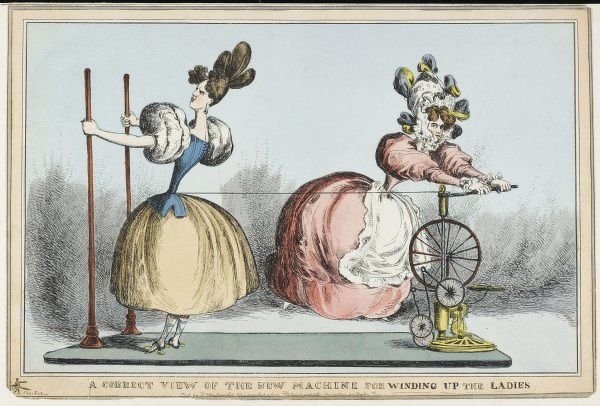 Satire on the fashion for tight corsets - 'A correct view of the new machine for winding up the ladies&#39