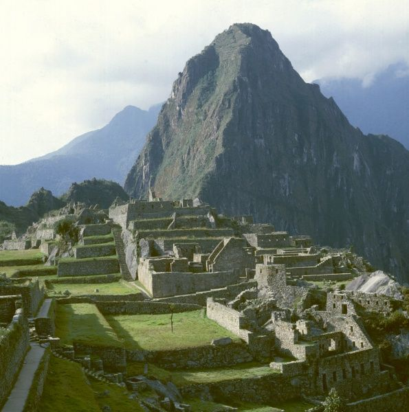 View of MACHU PICCHU, the ancient inca city built in the 15th century. The Pre- columbian town was discovered in 1911 by Hiram Bingham, a Yale historian and explorer
