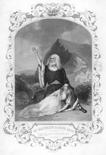 William Charles Macready, the English tragedian plays King Lear in Shakespeare's play of the same name