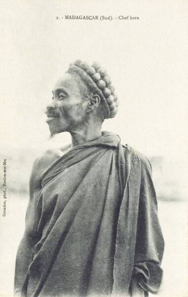 Southern Madagascar - Chief of the Bara People Date: circa 1910s