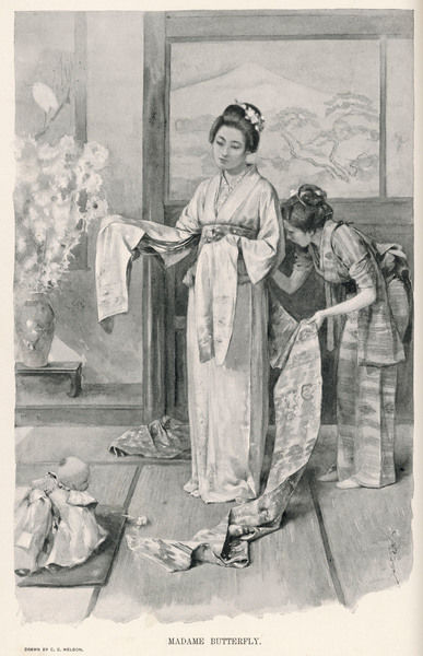 A female attendant helps Madama Butterfly to dress