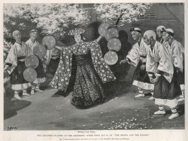 "The Japanese players at the Criterion theatre in London in a scene from Act II of ""The Geisha and the Knight"" showing Madame Sada Yacco (or Saddayakko) performing as the geisha dancing before the friars at the gate of the Buddhist"