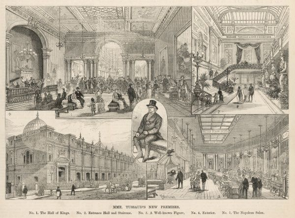 Engraving showing a number of views of Madame Tussaud's waxwork museum, London, 1884