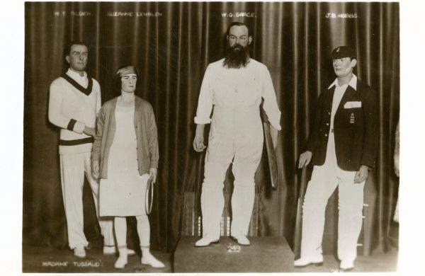 Madame Tussauds waxwork museum in London, wax models of sports people W.G. Grace, W.T. Alden, J.B. Hobbs and Suzanne Lenglen c.1910s