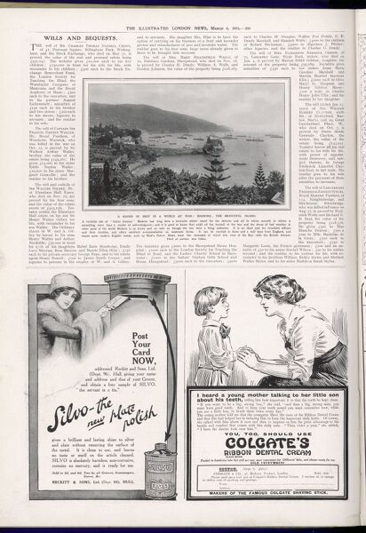 A page from The Illustrated London News featuring a photograph of Madeira Bay and adverts for Silvo plate polish and Colgate's dental cream