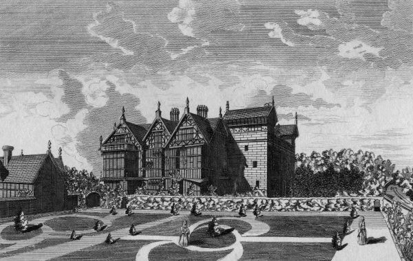 The garden front of Madeley Manor, Shropshire, the seat of John Offley Esquire Date: late 18th century