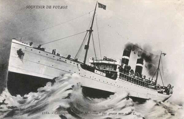 The liner 'Madonna' of the Compagnie Francaise de Navigation a Vapeur Cyprien Fabre & Compagnie. The funnel pattern dates this card to between 1905-1915, when the Fabre Line was running Transatlantic cargo-passenger lines. Madonna was launched in 1905