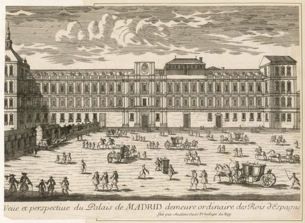 The palace of Madrid, the ordinary residence of the kings of Spain ; the place before the palace is thronged with a fine variety of vehicular traffic