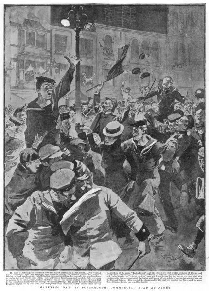 "The Relief of Mafeking is celebrated in Commercial Road, Portsmouth. ""Men and women, danced sang and shouted..&quot"