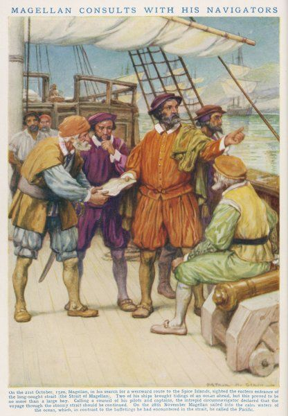 FERDINAND MAGELLAN consults with his navigators whether to attempt to pass through what we now know as the Straits of Magellan, 21 October 1520
