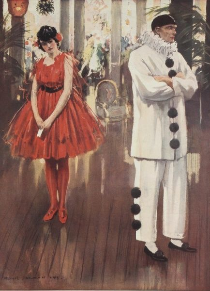 A fancy dress party scene showing a Pierrot ignoring a hopeful young lady who has positioned herself under a bunch of mistletoe