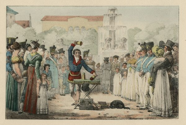 "Undated illustration, coloured, of a magician performing the cup and balls trick to a gathered audience, entitled ""Tableaux de Paris: L'Escamoteur, sur le boulevard, pres le Chateau d'Eau"" (Lit de Marlet). HPG/8/2/1 (xxi)&quot"