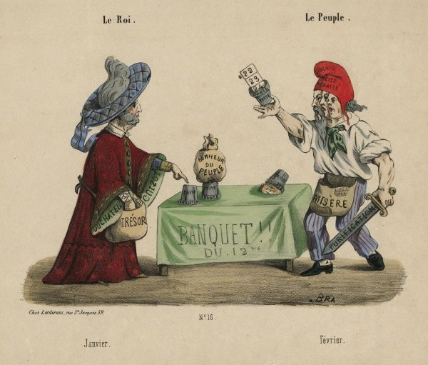 "Copy of colour illustration, ""Le Roi. Le Peuple"" showing a magician's trick being revealed"" (Chez Lordereau), 1848. HPG/8/2/1 (i)&quot"