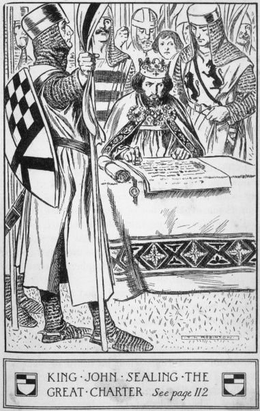King John, pressured by the barons and threatened with insurrection, reluctantly signs the great charter on the Thames island of Runnymede