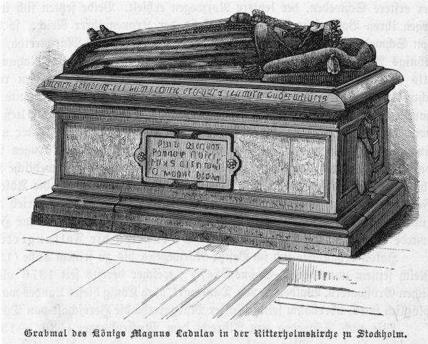 The tomb at Stockholm of Magnus I Ladulas, who is credited with establishing regular government in Sweden