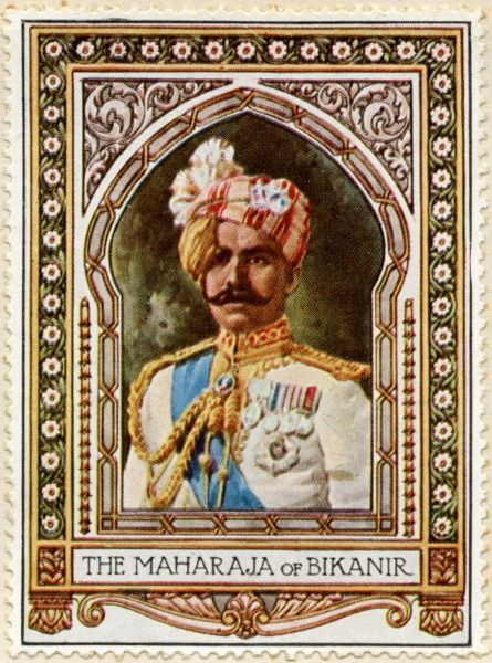 Maharaja SIR GANGA SINGH (1880 - 1943) Reformist ruler of Bikaner in present-day Rajasthan, India, and the only non Anglo member of the British Imperial War Cabinet during World War I