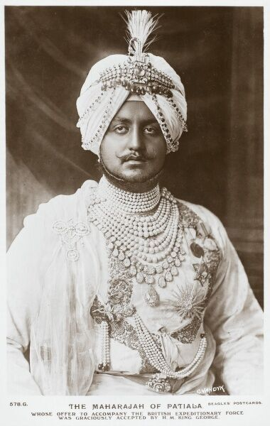 Bhupinder Singh (1891 - 1938) was the ruling Maharaja of the princely state of Patiala from 1900 to 1938. He is perhaps the most famous Maharaja of Patiala, best known for his extravagance, and for being a cricketer. He served on the General Staff in France