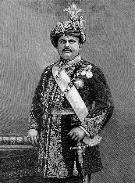Engraved portrait of His Highness Maharajah Takhtsingjie, G.C.S.I., the Maharajah of Bhownugar, 1893. The Maharajah was a vistor to London that year, in order to attend the opening of the Imperial Institute