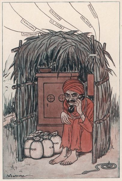 A cartoon on the subject of Mahatma Gandhi, Indian nationalist and spiritual leader, showing him making international calls on a telephone, with bags of money at his side