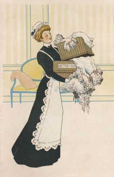 A lady's maid carries in her mistress's latest purchases (the maid on her own)
