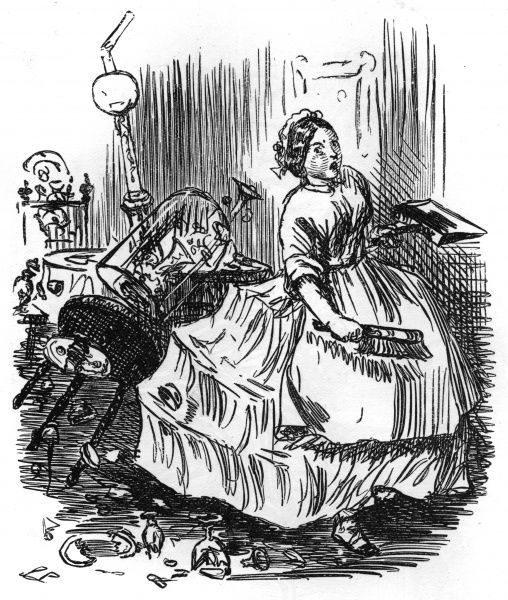 When crinolines are in fashion, household breakages are apt to be even more frequent than usual... Date: 1864