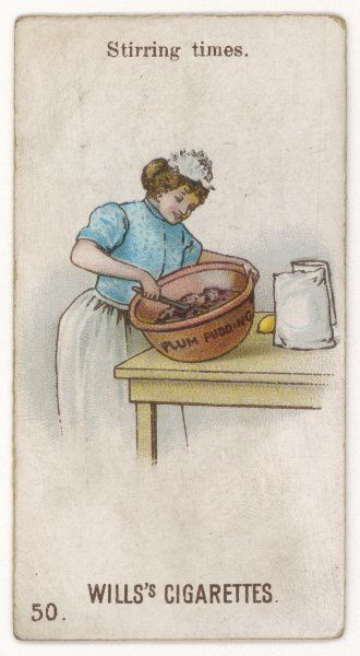 A kitchen maid stirs the ingredients for plum pudding