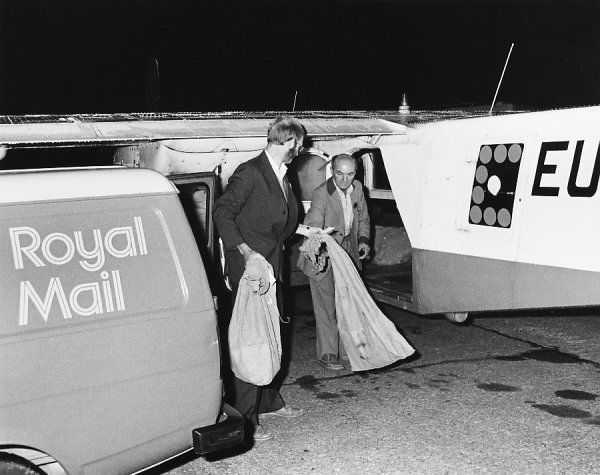 First Class mail being unloaded from a plane into a General Post Office (Royal Mail) van, Britain