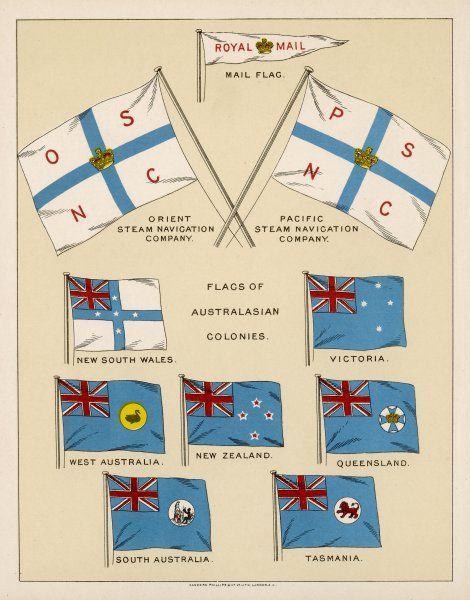 Flags including those of the States of Australia, New Zealand, Royal Mail & the Orient and Pacific Steam Navigation Companies