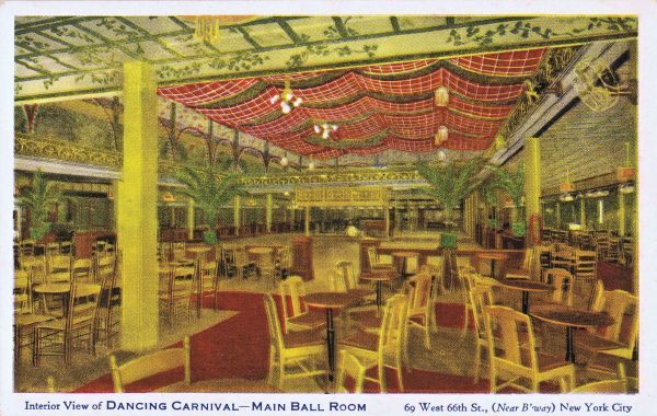 The interior of the main ball room in the Dancing Carnival at 69 West 66th Street (near Broadway), New York, 1920s Date: 1920s