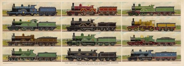 An illustration showing various express engines
