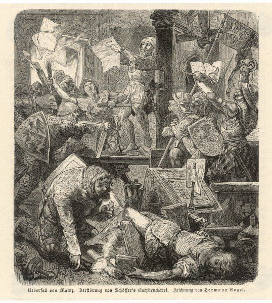 The capture of Mainz and the destruction of Peter Schoeffer's printing press