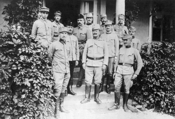 Major-General Blum in circle of Austro-Hungarian officers in World War One. Date