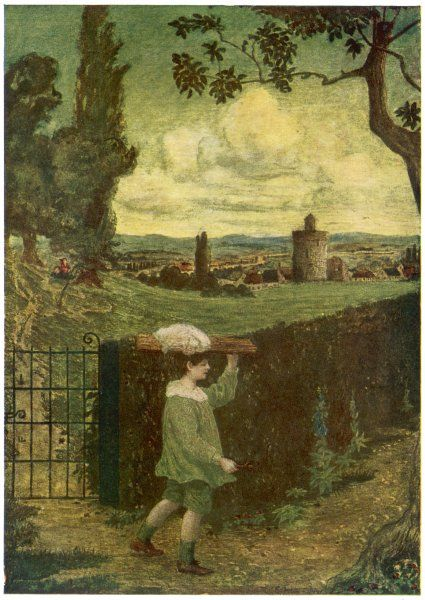 A little boy in picturesque green costume plays at being a muffin-man in a brooding, leafy landscape. He wanders up a pathway leaving his playmates behind
