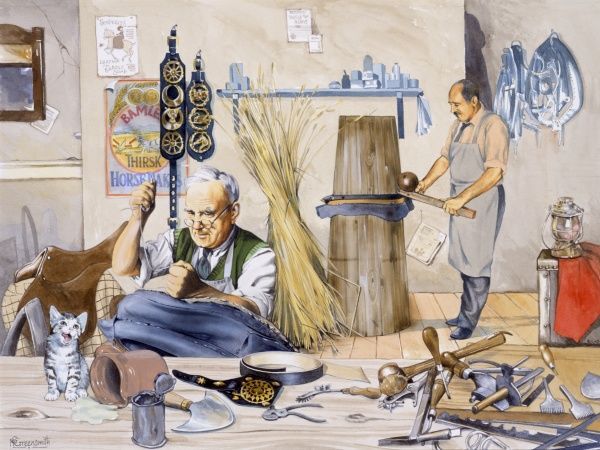 Two craftsmen preparing the leatherwork for horse tack; shaping, stretching and sewing the pieces to the correct shape and size. Painting by Malcolm Greensmith