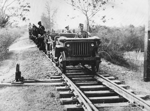 Making a jeep railroad. A supply line constructed by Indian engineers to run to Mandalay in readiness for expansion further south into Burma