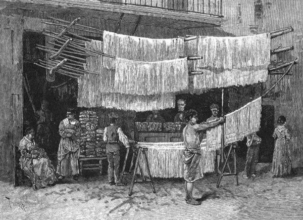 Making macaroni in Napoli - the strings of paste hanging out to dry Date: 1886
