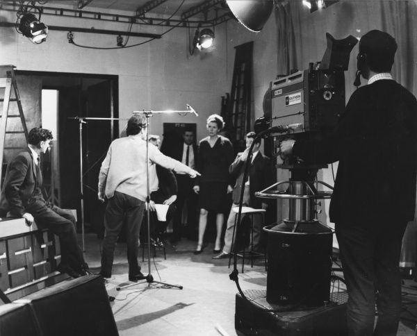 Making a programme for Southern Television inside a studio. Date: 1960s