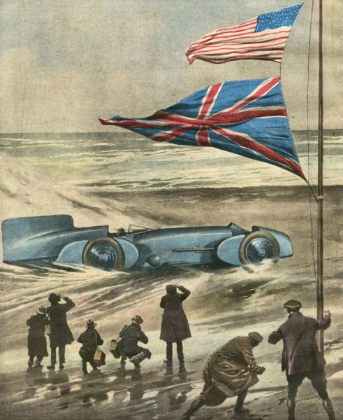 Malcolm Campbell drives his 'Bluebird' on Daytona Beach, Florida, at a speed of 395 km/h. Date: 5 February 1931
