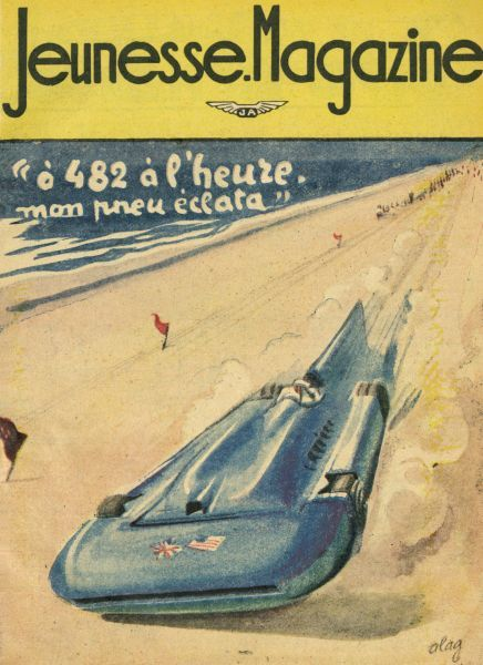 Malcolm Campbell drives his 'Bluebird' on Bonneville Salt Flats, Utah, at a speed of 484 km/h. Date: 3 September 1935