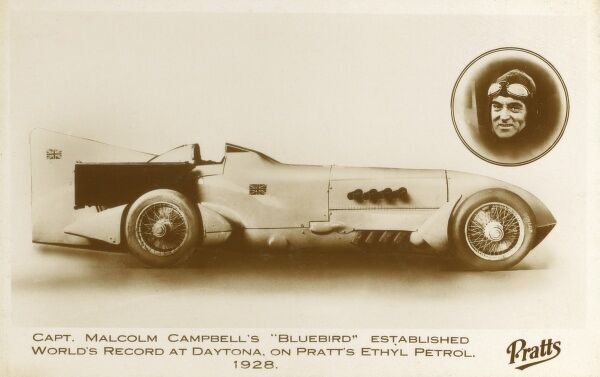 Bluebird - the car in which Captain Malcolm Campbell (1885-1948) set a new world land speed record on 20th February 1928 at Daytona Beach, Florida