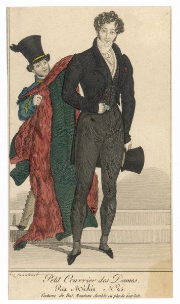 Red plush cloak (manteau) with green lining, black pumps, pantaloons buttoning at the ankle, stockings, top hat, waistcoat & cut-away coat with roll collar & white cravat